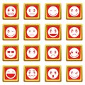 Emoticon icons set red