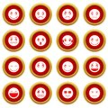 Emoticon red circle set