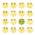 Emoticon set. Collection of Emoji. 3d emoticons. Smiley face icons  on white background. Vector Royalty Free Stock Photo