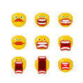 Emoticon set. Open mouth and teeth. Crazy Emoji. Emotion screams