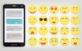 Emoticon set with Phone. Emoticon for web site, chat, sms. Modern flat design. Vector Royalty Free Stock Photo