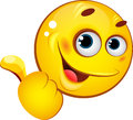 Emoticon showing thumb up yellow guy Stock Images