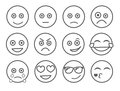 Emoticon vector illustration. Set emoticon face on a white background. Collection emotions Line style. Different emotions