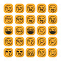 Emoticons. Flat icons. Smile with a beard, different emotions, moods. Vector illustration