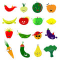 Emoticons food vector set. Cute funny stickers. Emoji fruits and vegetables flat cartoon style. Vector illustration