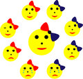 Emoticons: joy, sadness, tears, wink. Royalty Free Stock Photo