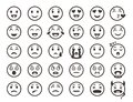 Emoticons outline. Emoji faces emoticon funny smile vector line icons Royalty Free Stock Photo