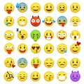 Emoticons set. Emoji faces emoticon smile funny digital smiley expression emotion feelings chat messenger cartoon emotes