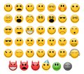 Emoticons set of smiles faces with different moods Stock Photography