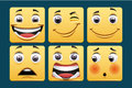 Emoticons set of square template Royalty Free Stock Photography