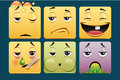 Emoticons set of square template Stock Image