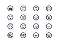 Emoticons set of styled smiley faces for your website Stock Photos