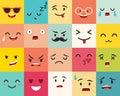 Emoticons vector pattern. Emoji square icons.