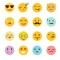 Emoticons vector set. Emoji icons, yellow circle illustration.