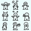 Emotion cartoon on  graph paper. Stock Photos