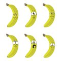 Emotion cartoon yellow banana set Stock Photo
