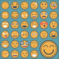 Emotion face sticker collection set on green background Royalty Free Stock Images