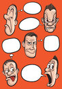 Emotion faces with speech balloons vector collection Royalty Free Stock Photo