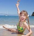 Emotion girl at sea coast. Royalty Free Stock Photo