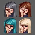 Emotion icons facepalm female with long hairs for social networks and stickers