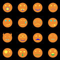 Emotion round face icons on black background stock vector Stock Photos