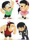 Emotion set eureka love angry sad a vector of people showing several emotions excited in and drawn in cartoon style this vector is Stock Photos