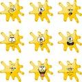 Emotion smiles cartoon yellow blot color set 006