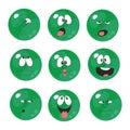Emotion smiles green color set 006
