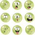 Emotion smiles green color set 009