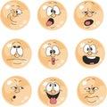 Emotion smiles orange color set 010
