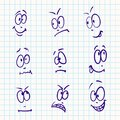 Emotion vector set of nine face on notebook paper Stock Photos