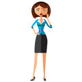Emotional Costumer Service Call Center Operator On Duty, emotional woman customer service flat cartoon vector illustration. Royalty Free Stock Photo