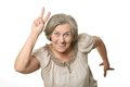 Emotional elderly woman on a white background Stock Images