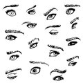 Emotional eyes and brows set of hand drawn in several emotions Royalty Free Stock Photo