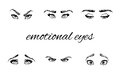 Emotional eyes and brows set of hand drawn in several emotions illustration Royalty Free Stock Photos