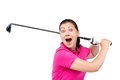 emotional happy girl with a golf club isolated on white Royalty Free Stock Photo