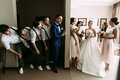 Emotional photo of the couple and their crazy friends Royalty Free Stock Photo