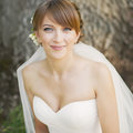 Emotional portrait of caucasian happy bride Royalty Free Stock Photo