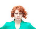 Emotional red haired woman in doubt isolated on white background Stock Photos