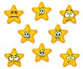 Emotional star icons with sad and negative emotions Royalty Free Stock Photography