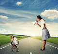 Emotional woman and lazy woman angry on the road Stock Photography
