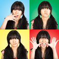 Emotions collage portrait teenager asian girl with difference Royalty Free Stock Image