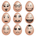 Emotions icon set of funny eggs eggs with various emotion face by black color painting vector Stock Images