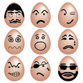 Emotions icon set of funny eggs eggs with various emotion face by black color painting vector Royalty Free Stock Photos