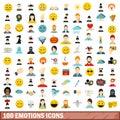 100 emotions icons set, flat style