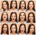 The emotions of young brunette woman. Studio Royalty Free Stock Photo