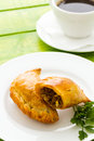 Empanada stuffed with bread on a white plate Royalty Free Stock Photos