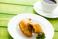 Empanada stuffed with bread on a white plate Royalty Free Stock Images