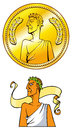 Emperor coin empire golden and himself vector illustration Royalty Free Stock Photography