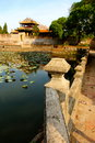 Emperors village hue lilly pad pond vietnam Royalty Free Stock Images